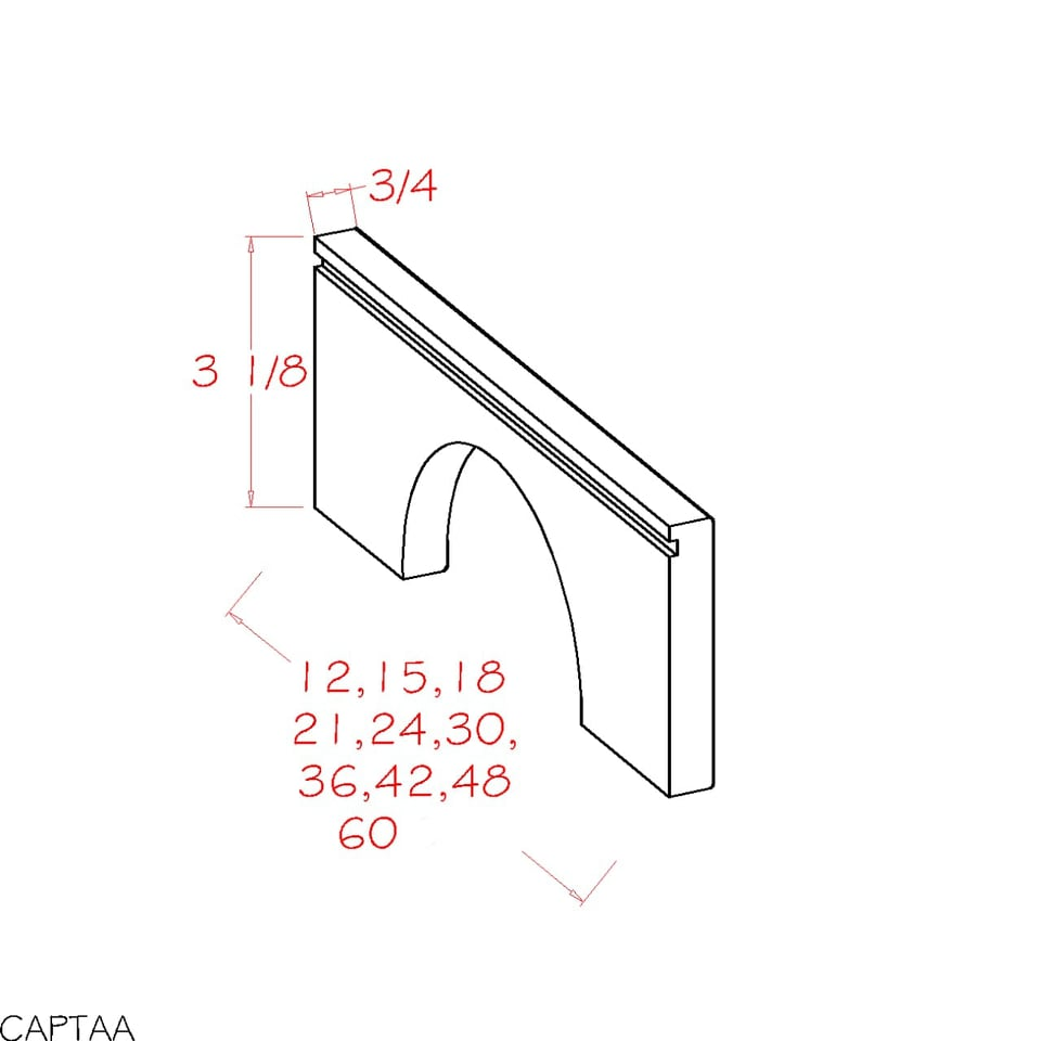 TAA18 - Shaker Dove - Toe Kick Arched Apron Moulding - TAA - Royal Online Cabinets