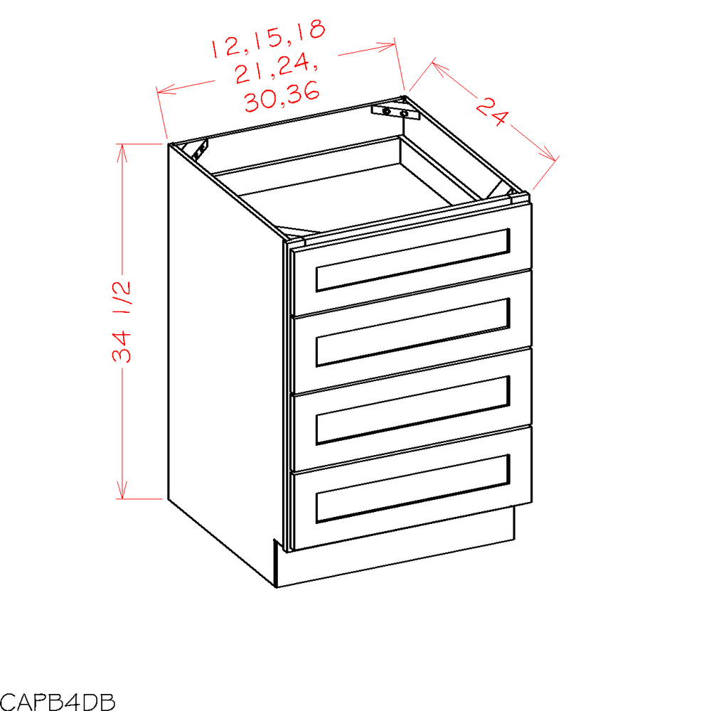 4DB21 - Shaker Dove - Four Drawer Base - Royal Online Cabinets