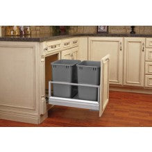 Bottom Mount Aluminum Pullout w/ Double 35 qt Waste Containers
