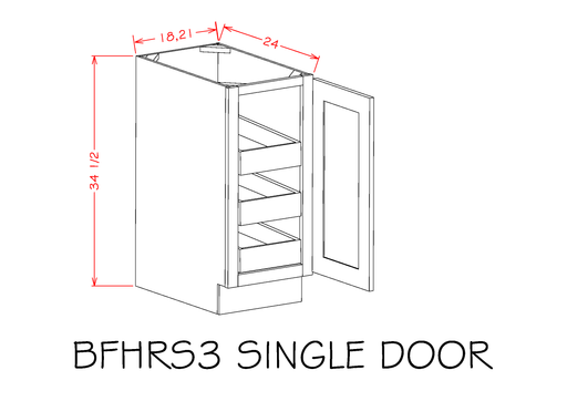 B18FH3RS - Shaker Espresso -  Base Cabinets - Single Full Height Door Three Rollout Shelf Base Kit