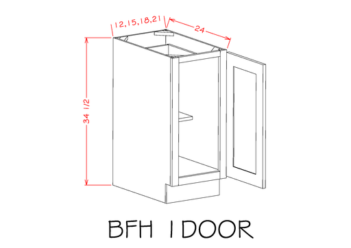 B12FH - Torrance White - Full Height Single Door Bases - Royal Online Cabinets