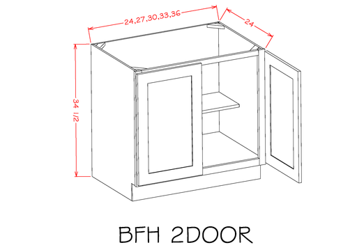 B27FH - Shaker Cinder - Full Height Double Door Bases - Royal Online Cabinets