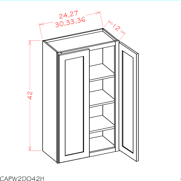 "W3042 - Shaker Espresso - 42"" High Wall Cabinets - Double Door *3 Adjustable Shelves - Royal Online Cabinets"