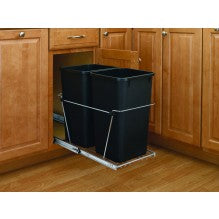 Bottom Mount Wire Pullout w/ Double 35 qt Waste Containers
