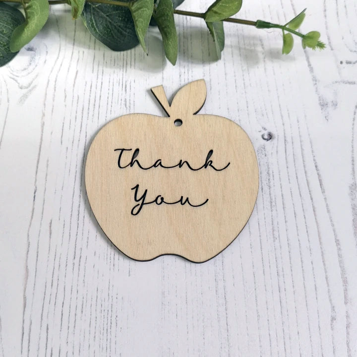 Wooden Thank You Teacher Apple Gift Tag
