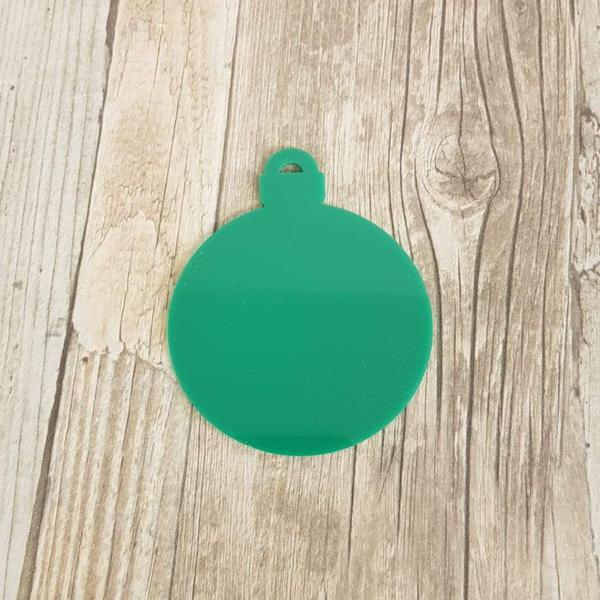3mm Coloured Acrylic Bauble Blank - Green