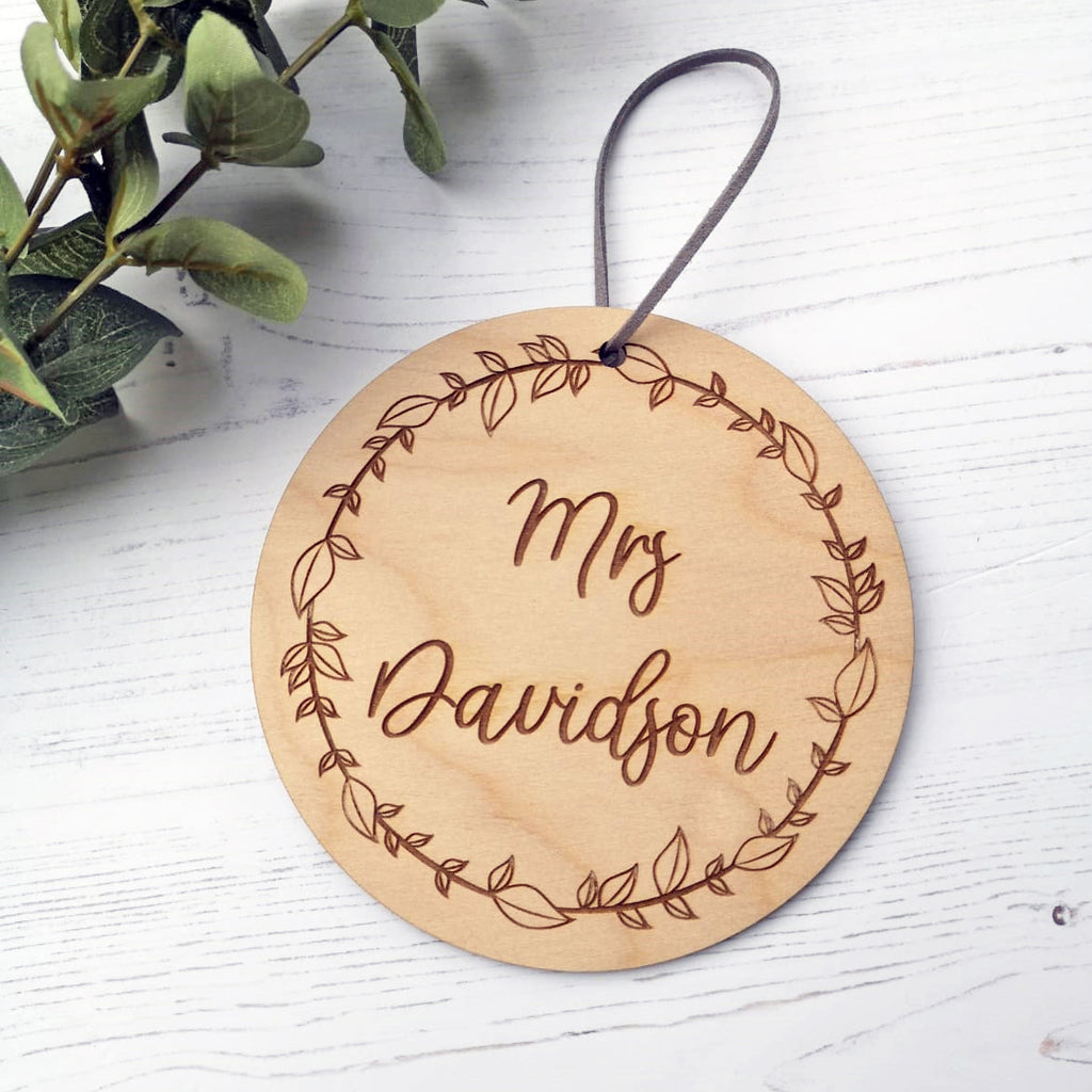 NAME Engraved Floral Plaque