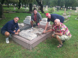 "Four Australian Cricket Followers Cleaning The Grave Of Harry ""Breaker"" Harbord Morant, An Australian Military Officer Buried At Church Street Cemetary, Pretoria, South Africa"