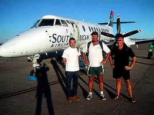 Australian Cricket Tours - Blair, Darren, and Mark At The Stairs Of Our South African Airways Jetstream In Bloemfontein