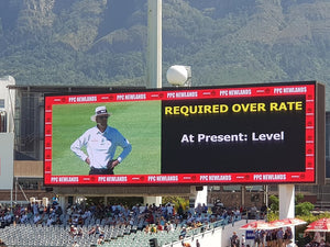 Australian Cricket Tours - Australia Test Cricket Tour To South Africa 2018 | Scoreboard At Newlands Showing The Over-Rate Is 'Level' When The Game Was 10 Overs Behind Schedule | Cape Town