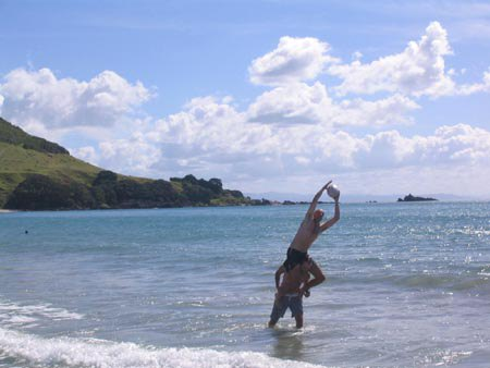 Australian Cricket Tours - Playing Football In The Bay At Mt Maunganui