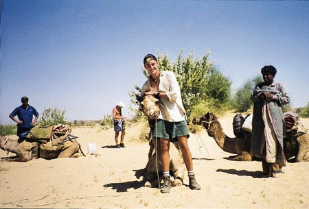 Australian Cricket Tours - Luke 'Sparrow' Gillian Hugging His Camel 'Liberty' Whilst On A Camel Safari Outside Jaisalmer | Rajasthan | India