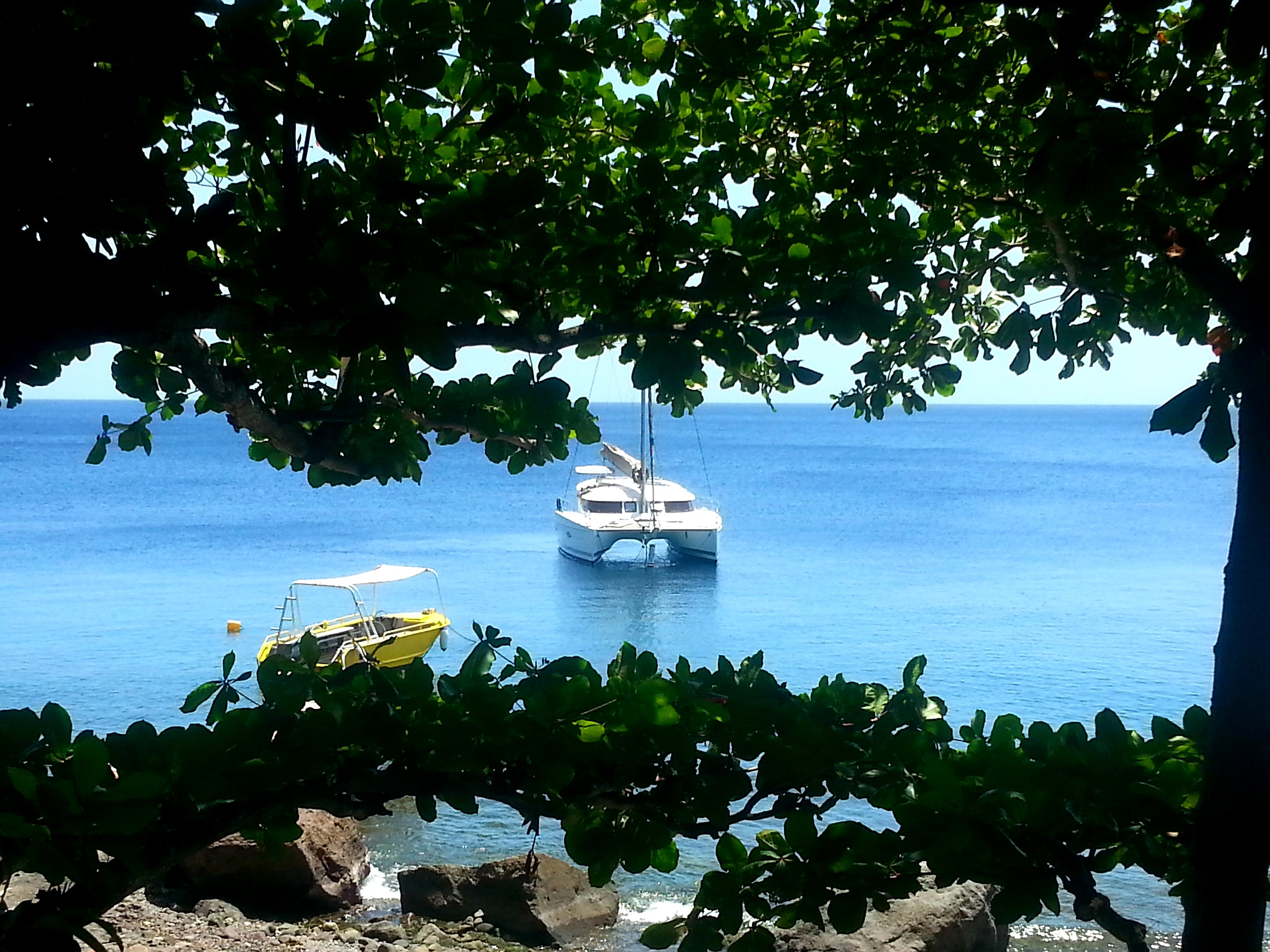 Australian Cricket Tours - A Yacht Moored Off The Coast Of The Lush Island Of Dominica