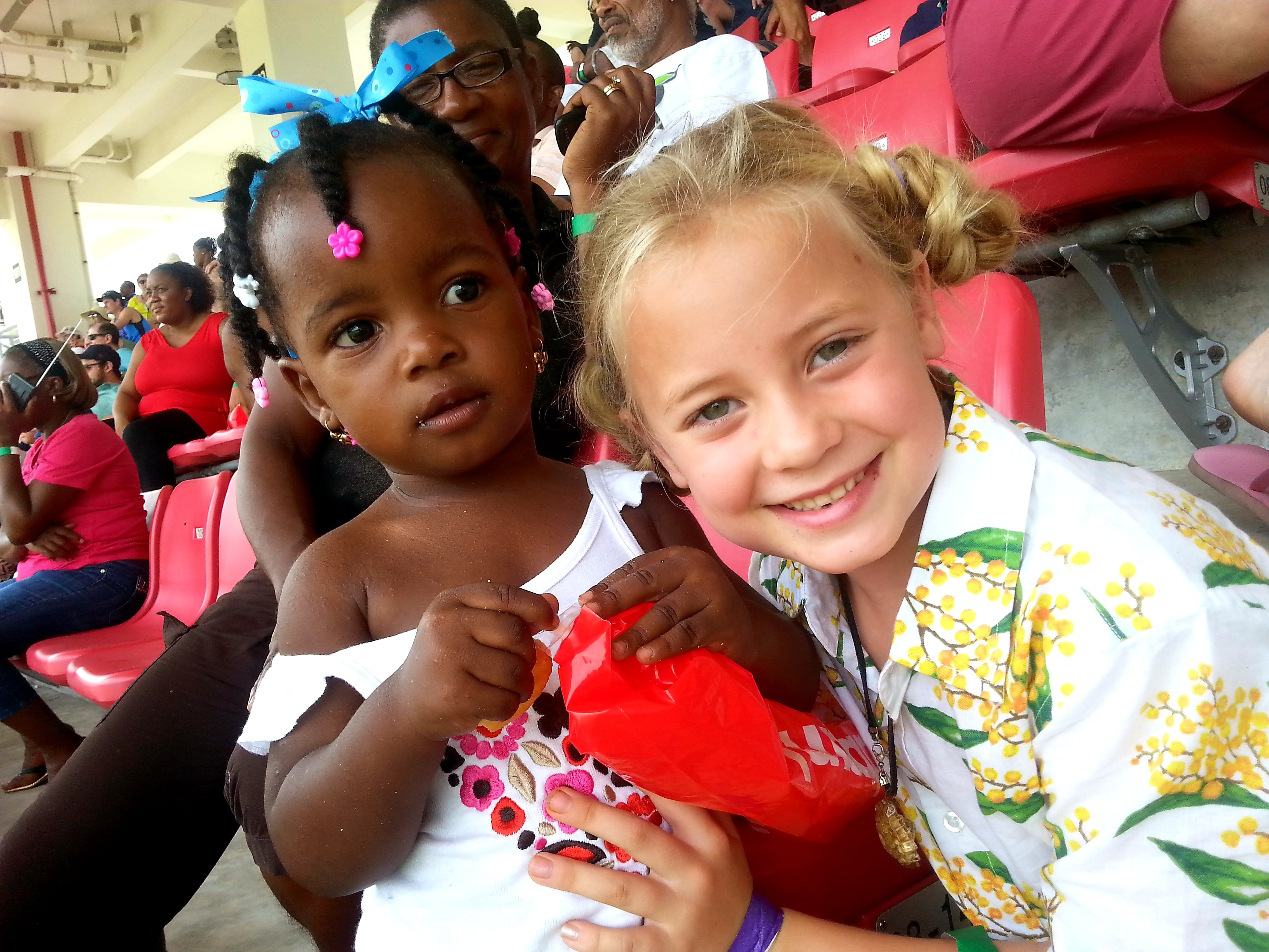 Australian Cricket Tours - Our Youngest Ever Guest Marli Making Friends With Mya At The Cricket In Dominica