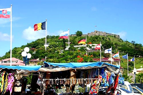 Australian Cricket Tours - The Market Place At Marigot Harbour, Looking Toward Fort Louis, St Martin