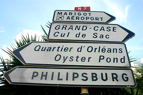 Australian Cricket Tours - The 'French Street Signs' Giving Direction Through St Martin