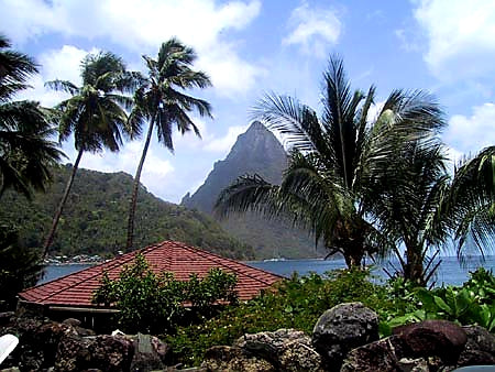 Australian Cricket Tours - On Every Australian Cricket Tour Of The West Indies We Include An All Inclusive Catamaran Day Trip Up And Down Or Around The Island, Such As We Are Here, Sailing Toward The Famous St Lucia Pitons | St Lucia
