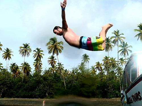 Australian Cricket Tours - Troy Diving Off The Catamaran Into The Spirit Of Caribbean Life And Their Turquoise Waters