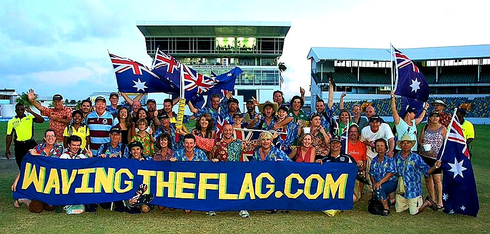 Australian Cricket Tours - Team Photo With 'WavingTheFlag.com' Banner On The Field At Kensington Oval