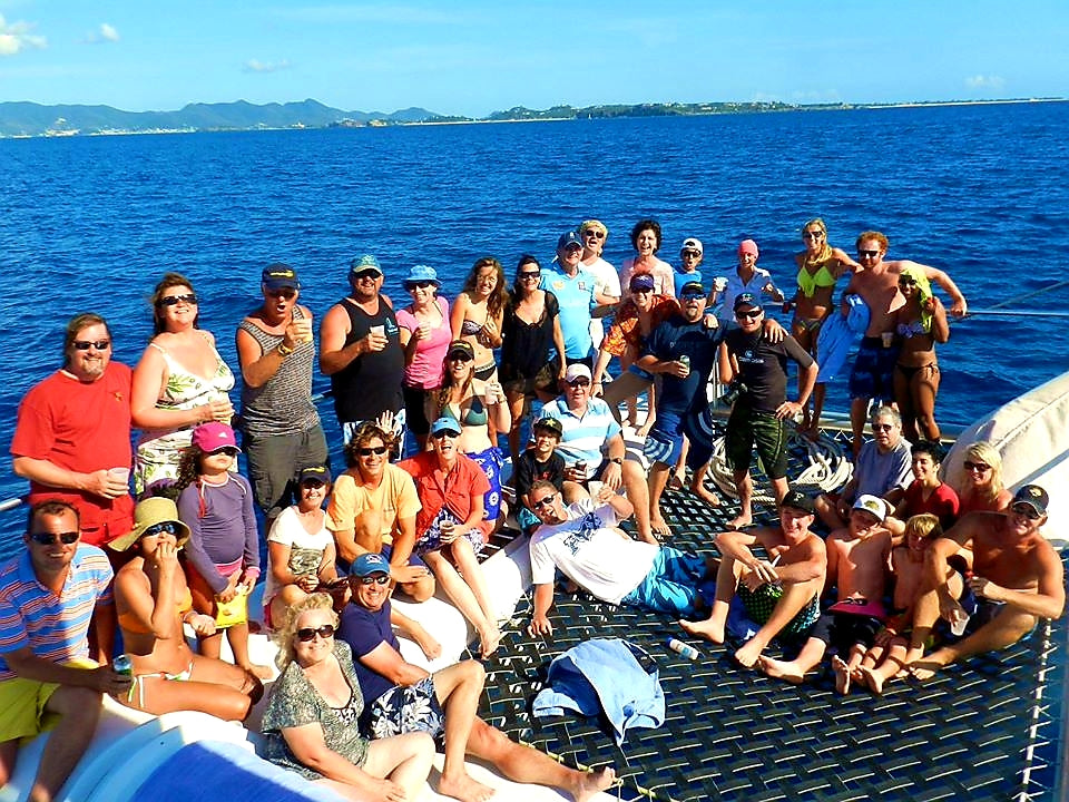 Australian Cricket Tours - An Awesome Group Ending Our Awesome Catamaran Day Trip To Prickly Pair On Anguilla | West Indies