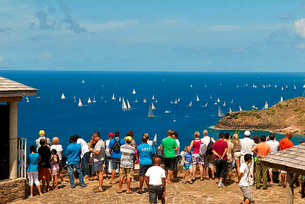 Australian Cricket Tours - Yachts Racing Along The South Coast Of Antigua As Seen From Shirley Heights Lookout