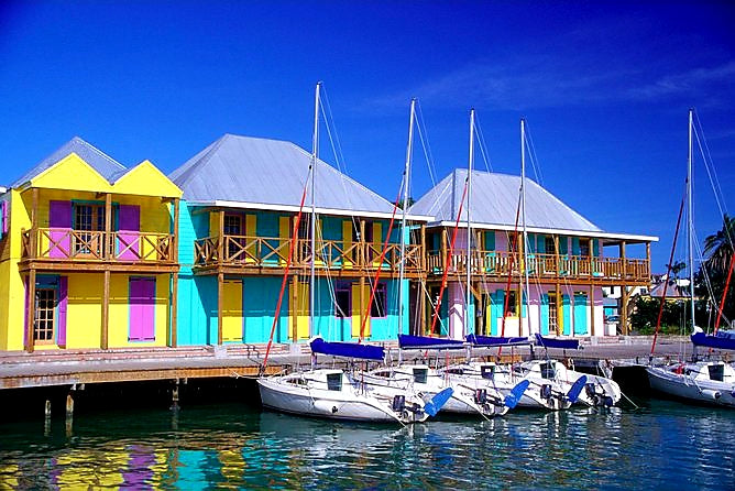 Australian Cricket Tours - Colourful Dockside Buildings In St John's Marina, Antigua