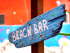 Australian Cricket Tours - Sign Pointing To A Beach Bar, Frigate Bay, St Kitts