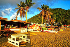 Australian Cricket Tours - The Monkey Bar Bathed In Orange Sunset, Frigate Bay, St Kitts