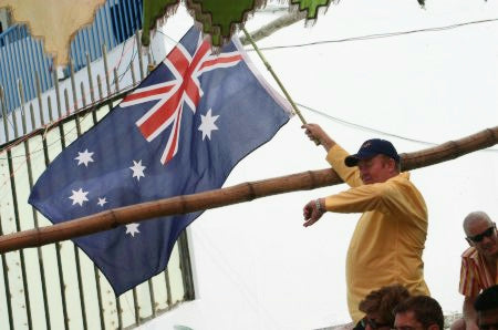 Australian Cricket Tours - Peter Holt Looks At His Watch Whilst Waving His Australian Flag, Wondering What Time Play Would Re-Start In Chittagong, During The Australia V Bangladesh Test Match In 2006