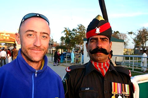 Australian Cricket Tours - A 'Selfie' With A Pakistan Ranger At The Entrance Gate To The Pakistan India Boder, Wagah, Lahore, Pakistan