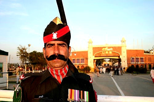 Australian Cricket Tours - Pakistani Soldier At Wagah After The Border Closing Ceremony
