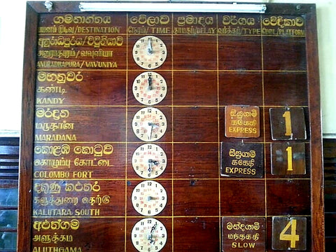 Australian Cricket Tours - The Analogue Railway Departures Board At Galle Railway Station, Galle, Sri Lanka