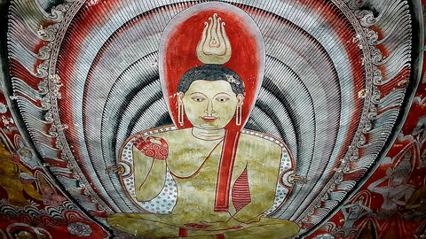 Australian Cricket Tours - Buddhist Paintings In The Dambulla Cave Temples