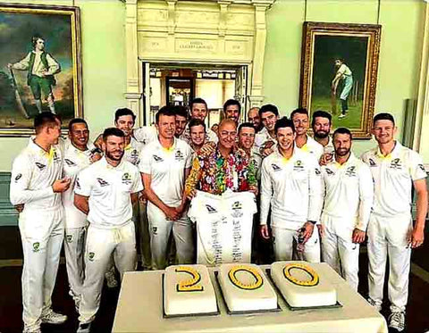 Australian Cricket Tours - Luke Gillian Included In The Australia Team Photograph In The Pavilion Long Room, Whilst Celebrating 200 Australian Test Matches At Lord's Cricket Ground During The Ashes Test Cricket Series 2019 | London