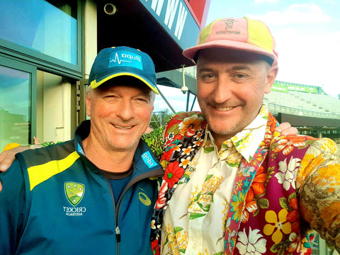 Australian Cricket Tours - Luke Gillian With The Great Australian Captain Steve Waugh After The Ashes Match At Old Trafford, Manchester, During The Ashes Test Cricket Series 2019 | London | England