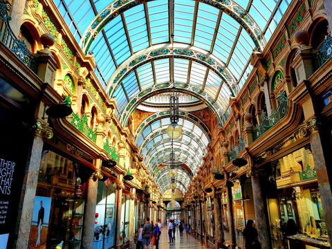 Australian Cricket Tours - A Striking Shopping Arcade In Leeds During The Ashes Test Cricket Series 2019 | Leeds | England