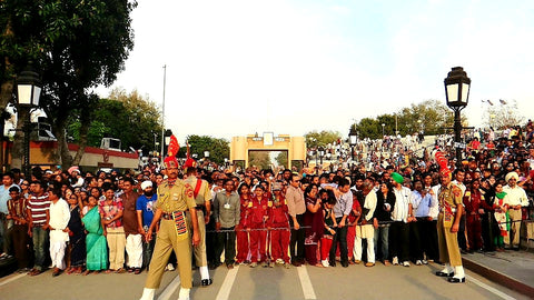 Australian Cricket Tours - The Indian Crowd Is Held Back From The Border Gates After The India Pakistan Border Closing Ceremony At Attari | India