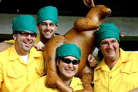 Australian Cricket Tours - Four Clients Celebrate Indian Culture Wearing Gold Shirts And Green Turbans At The Australia Vs India Test Match In Bengaluru In 2004   India