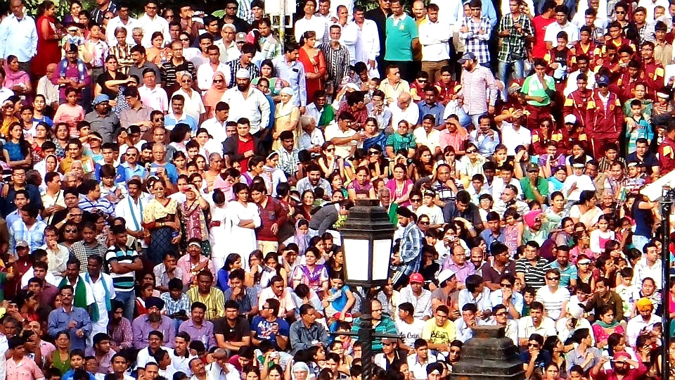 Australian Cricket Tours - The Massive Crowd Waits For The Start Of The Famous India Pakistan Border Closing Ceremony At Attari