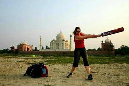 Australian Cricket Tours - Lisa Busst Playing Cricket In Front Of The Taj Mahal On Our Australia Test Cricket Tour To India