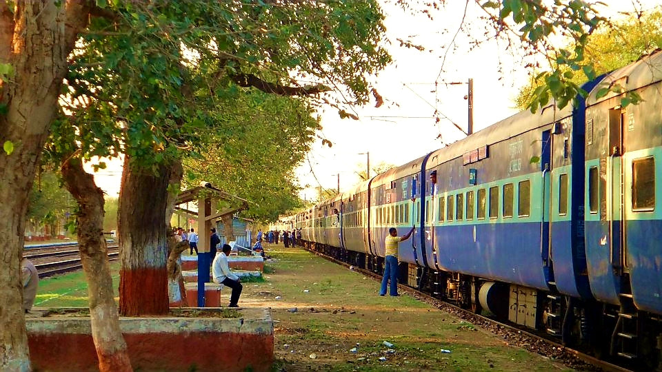 Australian Cricket Tours - A Train Sits Idle On A Quiet Rural Railway Station On The Indian Railways Journey To Chandigarh, India