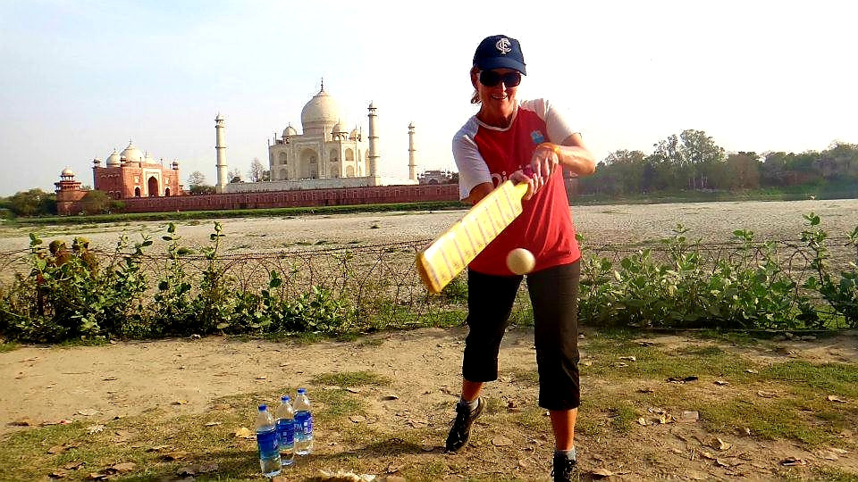 Australian Cricket Tours - Playing Cricket On The Yamuna River Behind The Taj Mahal On Our Cricket Tour Pilgrimage To Agra, India