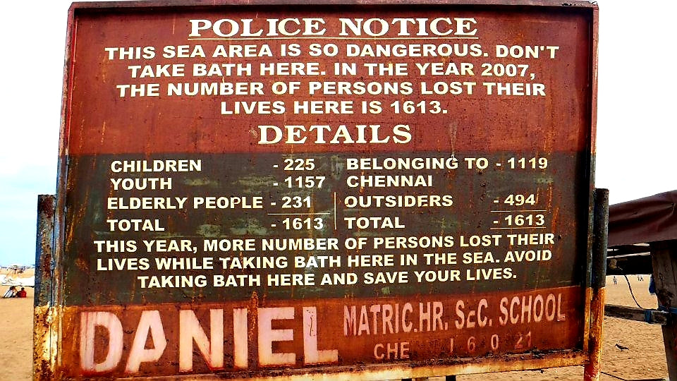 Australian Cricket Tours - Marina Beach On The Bay of Bengal, Chennai. Is Not A Very Safe Place To Swim As The Sign Stating The Number Of Annual Deaths Suggests | Chennai | India