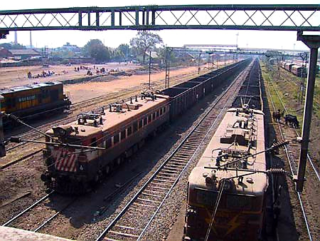 Australian Cricket Tours - Two Freight Trains Sit Outside Nagpur, As Seen From Station Bridge | Nagpur | India