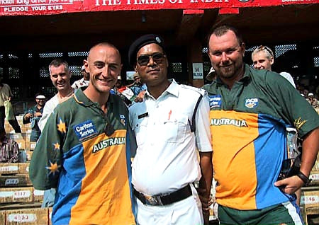 Australian Cricket Tours - The Chief Of Police Pose With Luke 'Sparrow' Gillian And Darren 'Dagsy' Moulds Before Play At Eden Gardens, Kolkata During The 2nd Test Match Between Australia vs India 2001