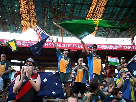 Australian Cricket Tours - Australian Supporters Waving The Flag At Eden Gardens, Kolkata During The 2nd Test Match Between Australia vs India 2001