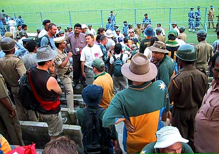 Australian Cricket Tours - The Army And Police Sit Amongst Australian Cricket Supporters At Eden Gardens, Kolkata During The 2nd Test Match Between Australia vs India 2001