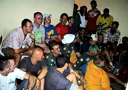 Australian Cricket Tours - Australian Cricket Supporters Gather Around The TV To Watch The Replay Of The 2nd Test Match Between Australia vs India, At Eden Gardens, Kolkata, 2001