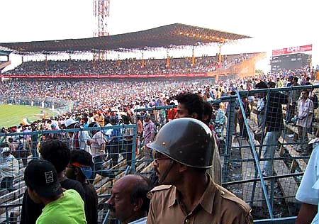 Australian Cricket Tours - The Police Sit With Australian Supporters At Eden Gardens, Kolkata During The 2nd Test Match Between Australia vs India 2001