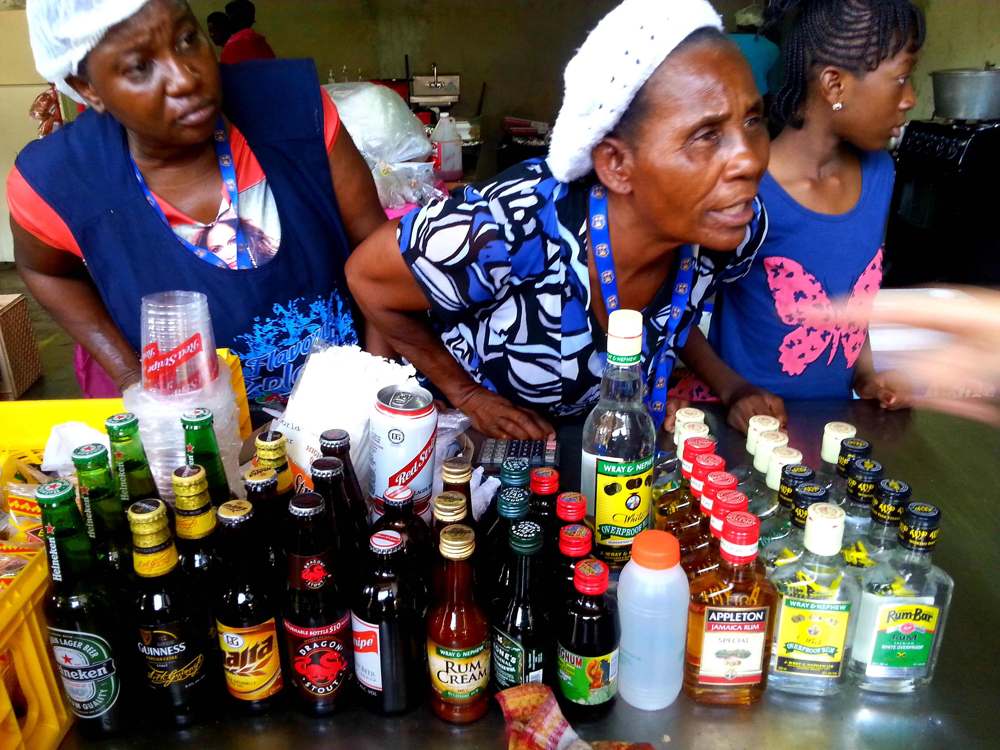 Australian Cricket Tours - Two Ladies Looking Very Focussed On Pouring The Correct Cocktail At The Sabina Park Test Match In Jamaica